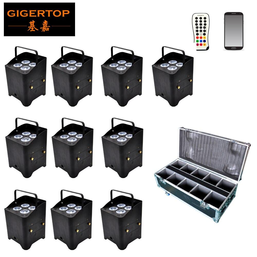 TIPTOP 10 Pack iluminación de boda integrada en 2,4G transceptor recargable inalámbrico DMX con batería Par Can 6in1 + funda de carretera paquete