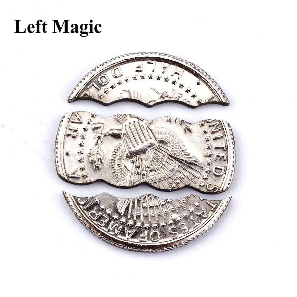 Moneda en botella de cerveza dos monedas plegables moneda mordida versión dólar trucos de magia accesorios de magia B1012