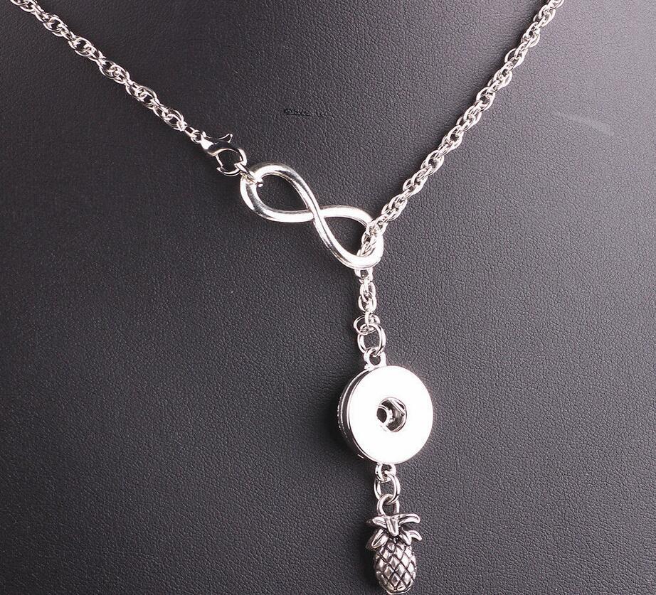 ¡Oferta! COLLAR COLGANTE de plata Lariat infinidad con botón a presión y piña, abalorios de Gargantilla llamativos, regalos de joyería para mujer B106