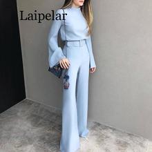 Laipelar 2020 Spring Women Fashion Elegant Office Workwear Casual Jumpsuits High Neck Bell Sleeve Wide Leg Romper With Belt