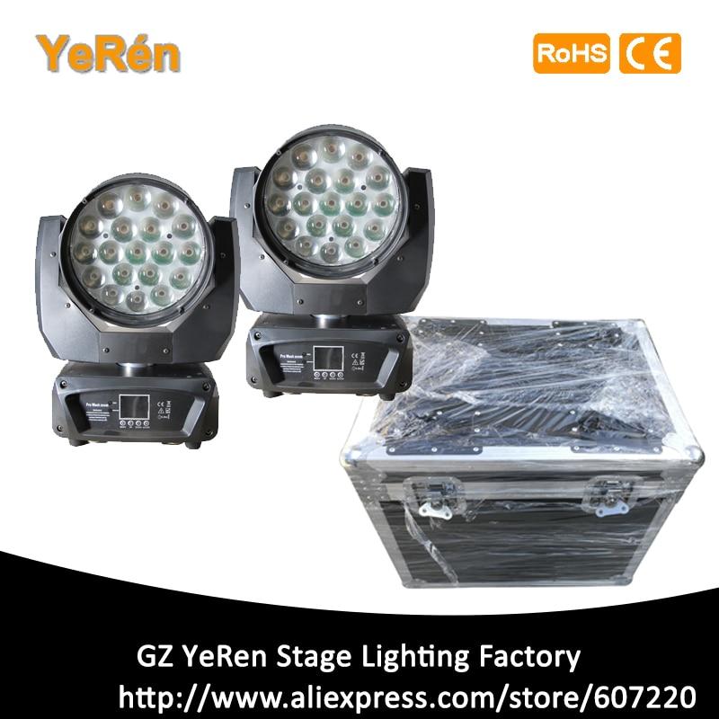 (2 paquetes de funda de carretera) Aura iluminación con cabeza giratoria Zoom Luz de lavado 19*15W RGBW DMX 16/25CHs equipo profesional de iluminación de escenario