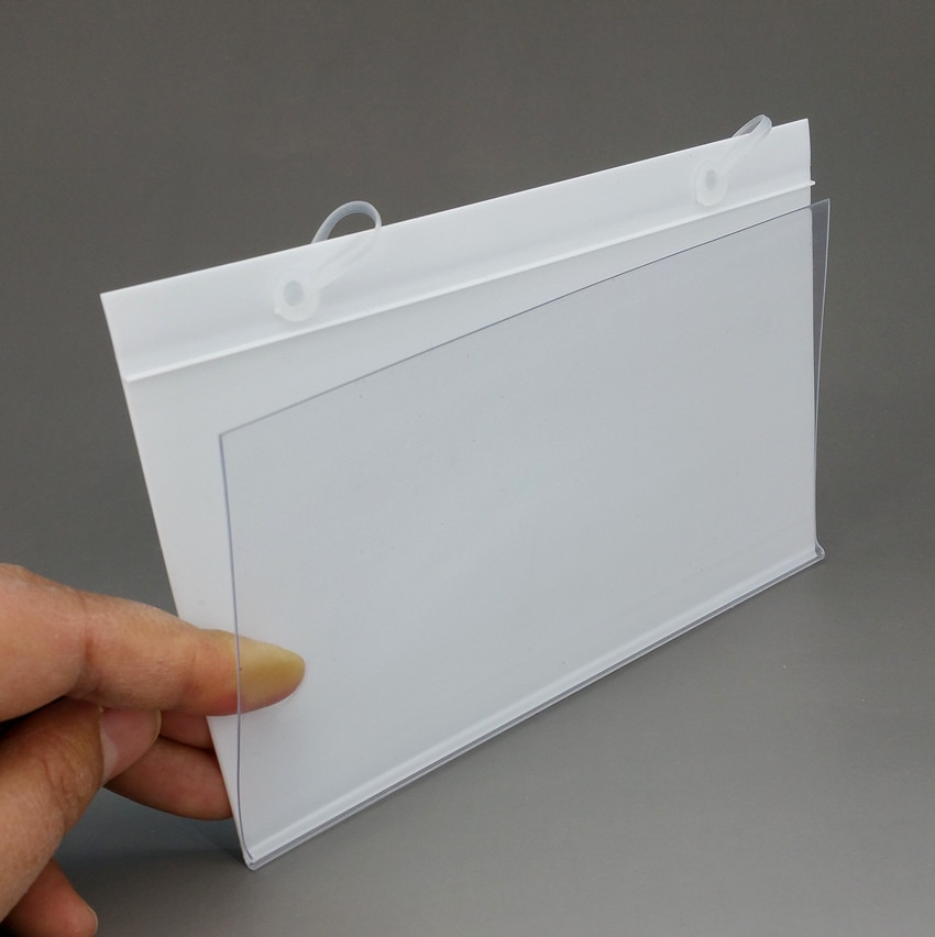 160x98mm PVC Plastic Price Tag Label Display Holder In White or Clear By Hanging buckle on Mesh Rack Basket Shelf 500pcs