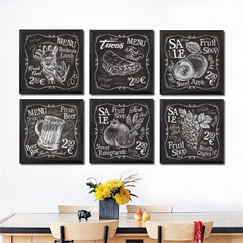 Cuadro sobre lienzo para pared de verduras frescas, cartel con impresión de frutería en blanco y negro, imagen decorativa para pared de restaurante y cocina, HD2441