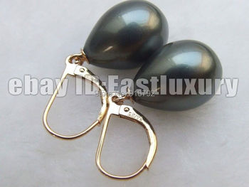 Wholesale  >>>>12x16mm Tahiti Black Drip Sounth Sea Shell Pearls Earrings 14K