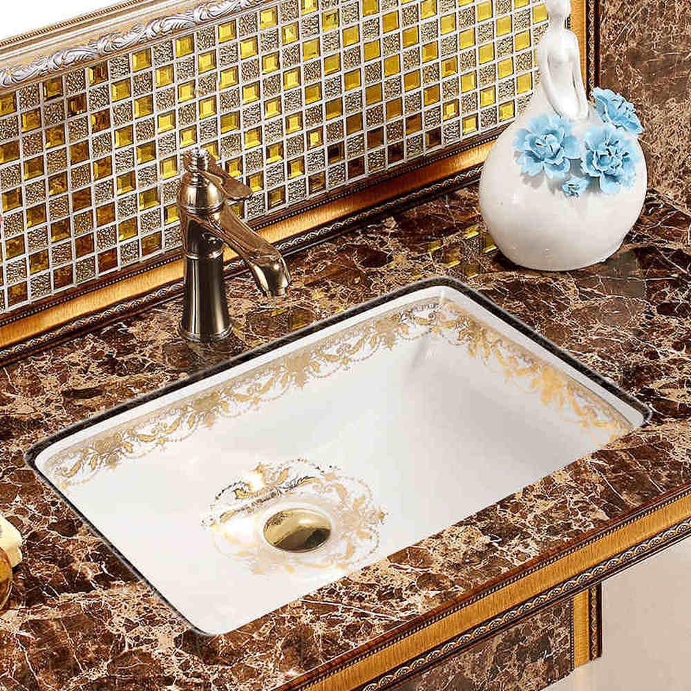 حوض حمام سيراميك ، نصف وحدة ، مربع ، فني ، LO620248