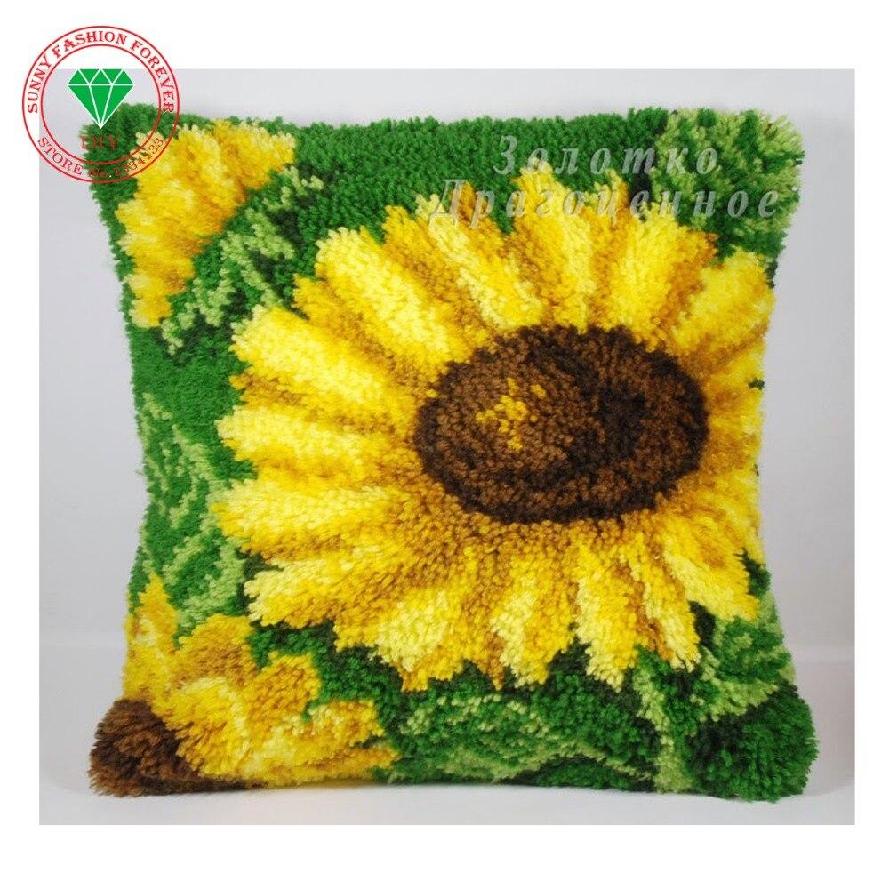 Bordado para alfombras de flores de girasol kits de costura con aguja de lengüeta para alfombra de punto agujas ganchos de crochet manualidad de fieltro puntada hilos almohada alfombras