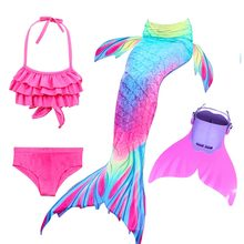 Enfants natation queues de sirène avec Monofin Fin Cosplay Costume filles enfants maillot de bain Ariel nagable queue de sirène pour la natation
