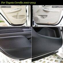 Brand New 1 zestaw wnętrza 3D z włókna węglowego drzwi boczna krawędź Anti-kick Pad ochrony naklejka do Toyoty Corolla 07- 2013