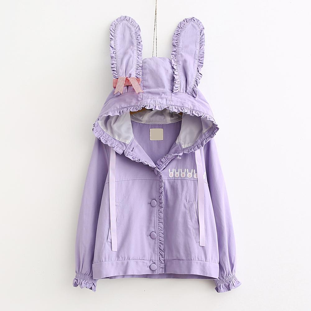 Otoño mujer chaqueta Linda estilo japonés Mori Girl Harajuku Kawaii conejo chaqueta con capucha de manga larga abrigo corto cortavientos