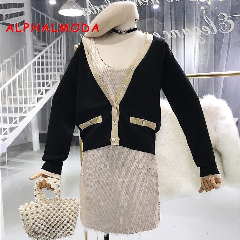 ALPHALMODA 2018 Single Breasted Women Knitted Jacke V-collar Long-sleeved Golden Striped Faux Pocket Female Graceful Cardigans