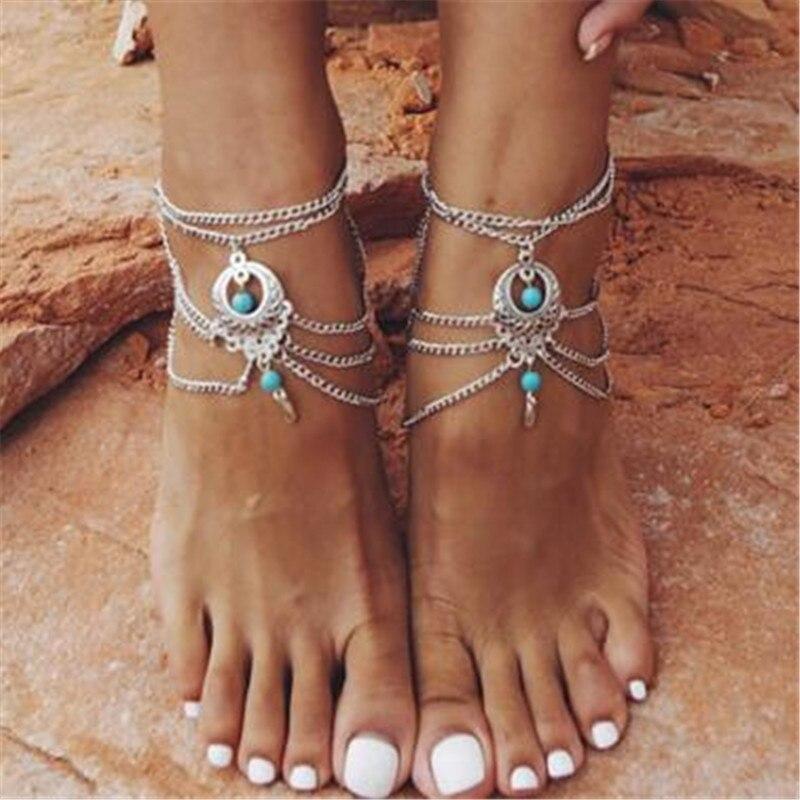 DIEZI New Vintage Punk Fashion Anklet Jewelry Tassel Leg Bracelet For Women Men To Beach Ankle Chain Tassel Foot Chain Anklets