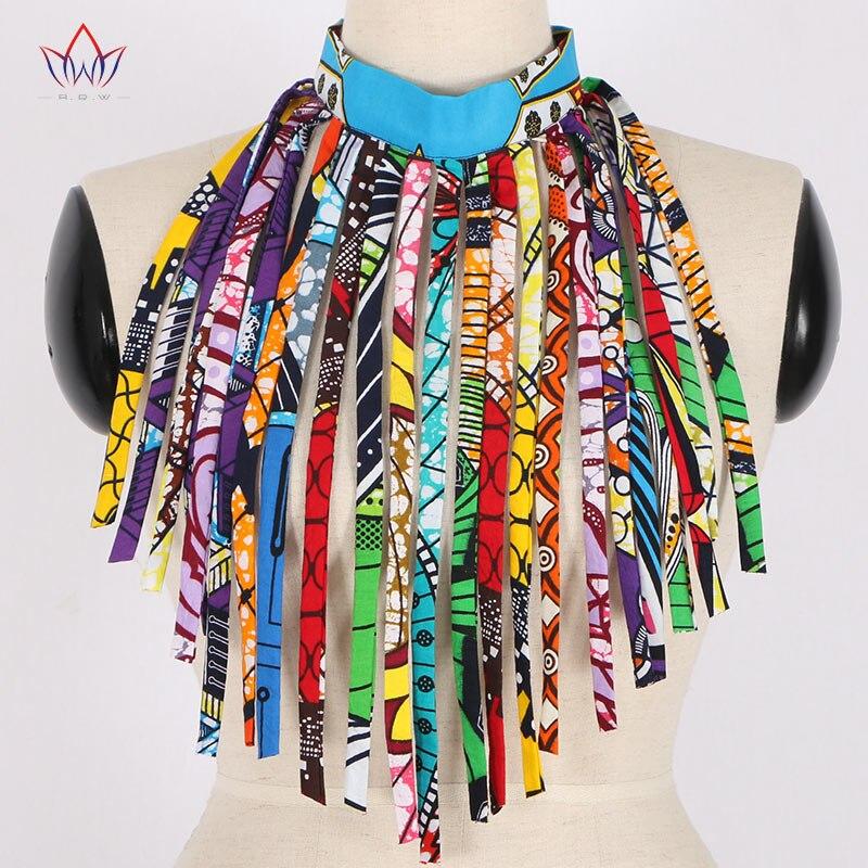 African Style Women Fashion Necklace Handmade Long Tassel Statement Choker Necklace Cotton Wax Fabric Jewelry  WYA026