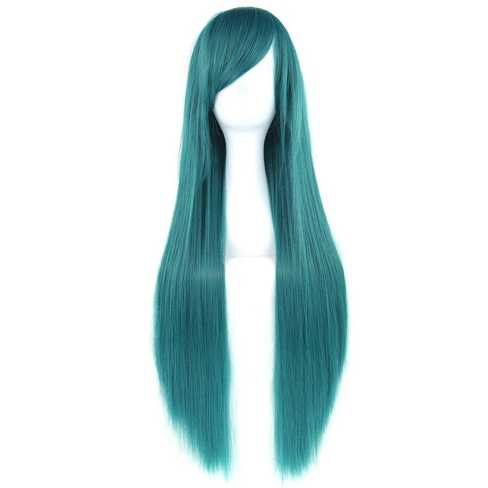 Soowee 32 дюйма Длинные Синтетические волосы зеленый фиолетовый косплей парики