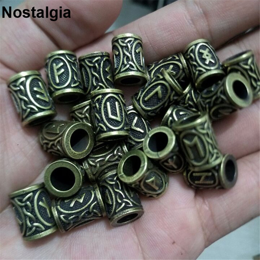 Nostalgia 1 pçs viking runas artesanato grânulos homens jewlery para barba slide encantos moda jóias das mulheres acessórios para o cabelo