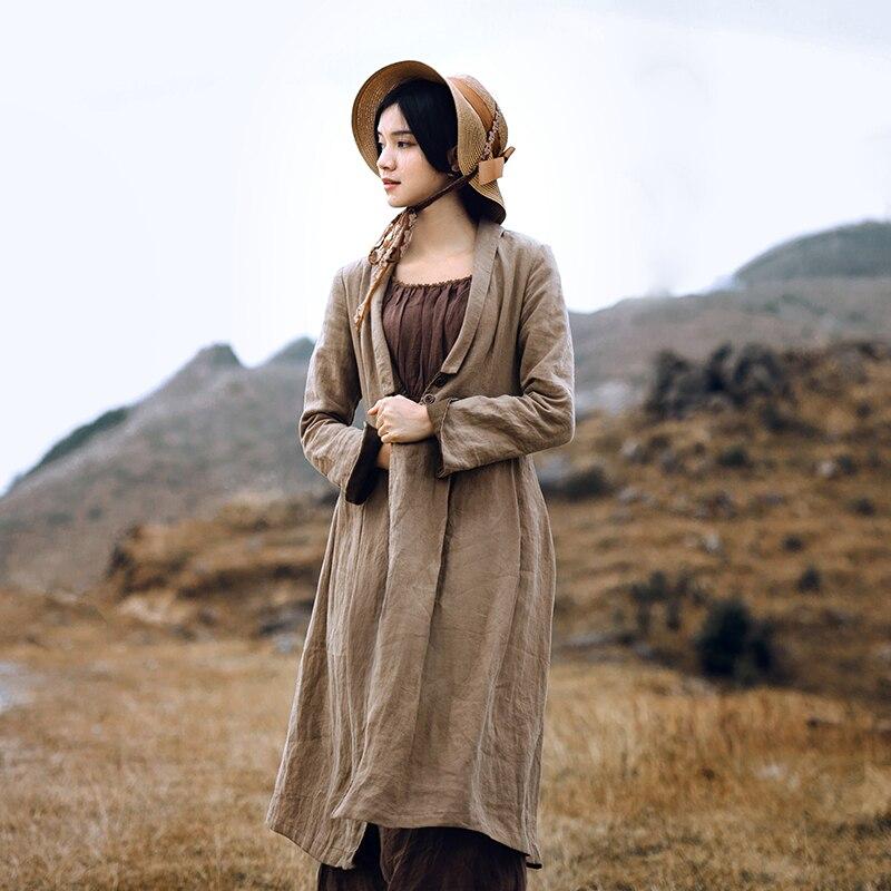 Gabardina de lino largo Vintage para mujer con diseño Original de primavera y otoño de lynet