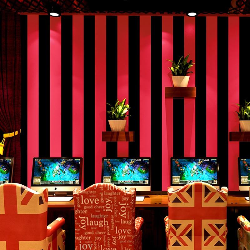 Papel pintado moderno Rojo Negro rayas moda negro plata papel de pared rollo sala de estar decoración para el hogar