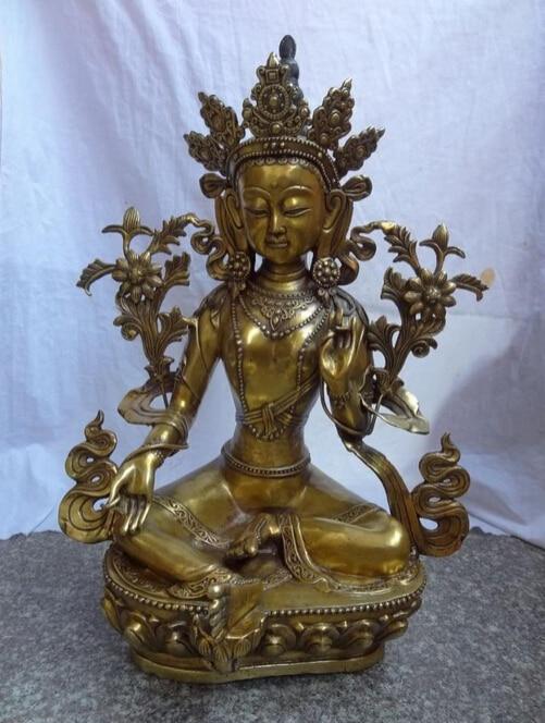 "bi001722 24"" Tibet Bronze Gilt Buddhist GuanYin Goddess Green Tara Buddha Joss Statue"