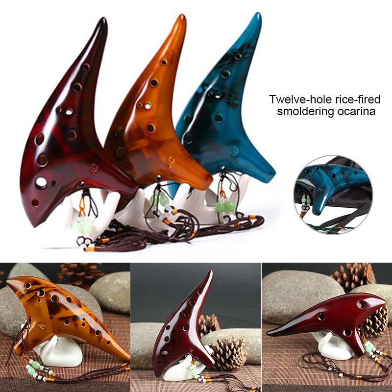 Flauta de cerámica Ocarina de 12 agujeros Alto C leyenda ahumada Ocarina submarina estilo instrumento Musical amante de la música instrumento principiante