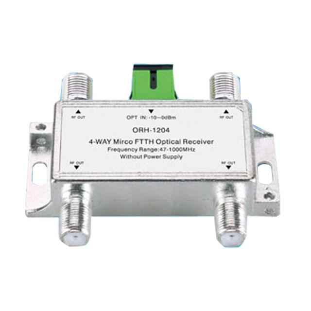 Receptor óptico Mini CATV FTTH ORH-1204 47-1000 MHz, receptor óptico negativo FTTH pasivo de 4 vías