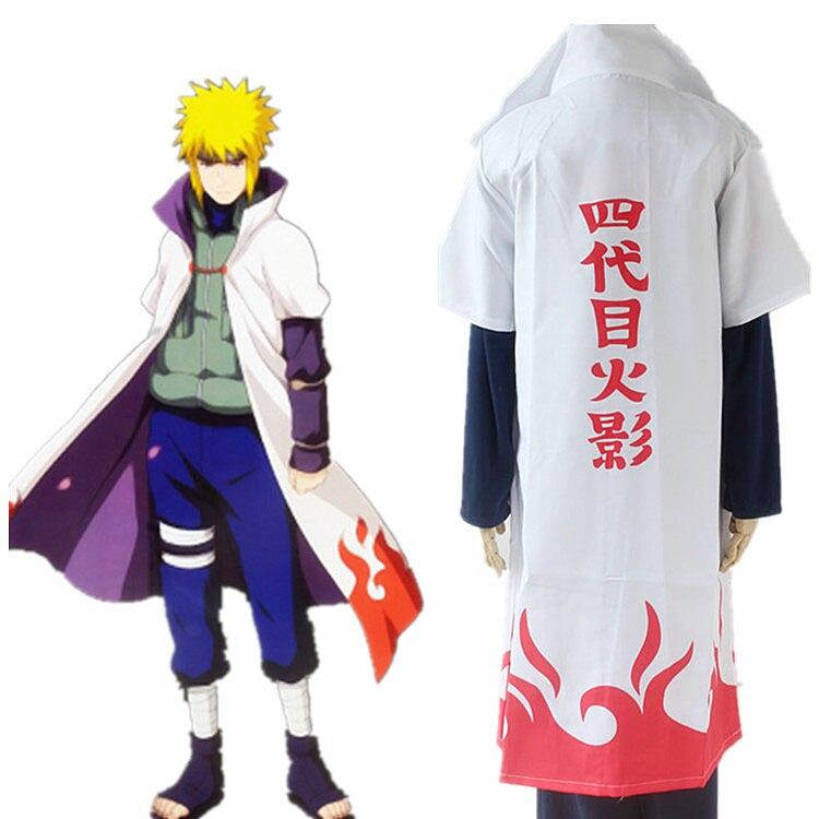 Caliente Anime Naruto Shippuden Cosplay capa 4th Hokage capa blanca capa de polvo Unisex cuarto Hokage Namikaze Minato uniforme
