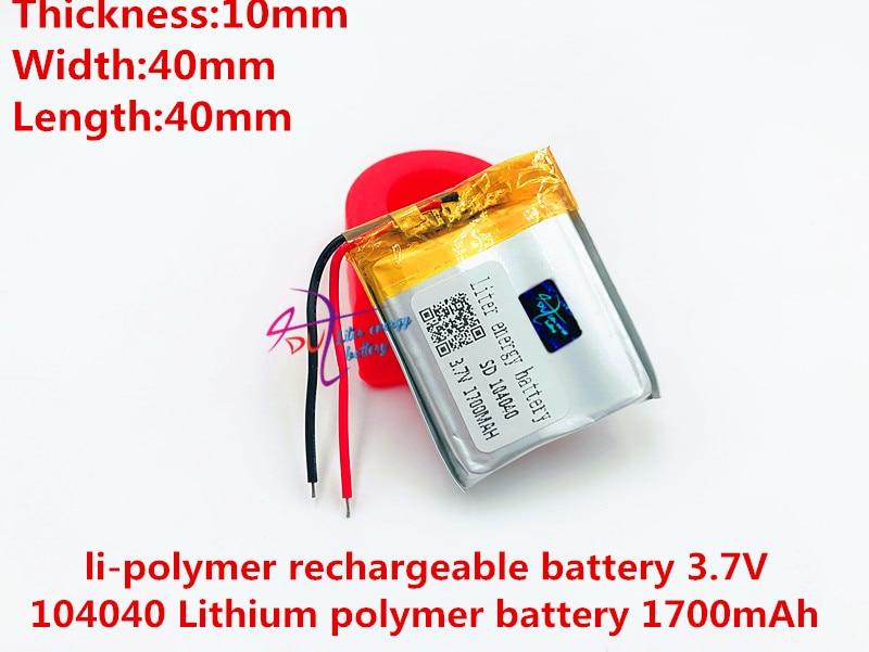 La mejor marca de baterías 3,7 V, 1700mAH 104040 polímero de litio/batería de iones de litio para tableta pc, Banco de energía, mp4, cel