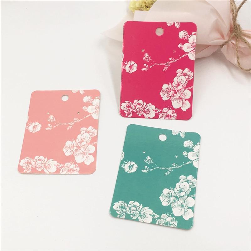 Creative 200pcs/lot Colorful Flower Printed Vintage Kraft Paper Eardrop/Stud Ear display Card Organize Ear Ornament Labels Card