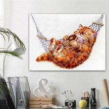 Meian Animal 5D bricolage diamant peinture paresseux chat diamant peinture pleine ronde diamant broderie vente photo de strass