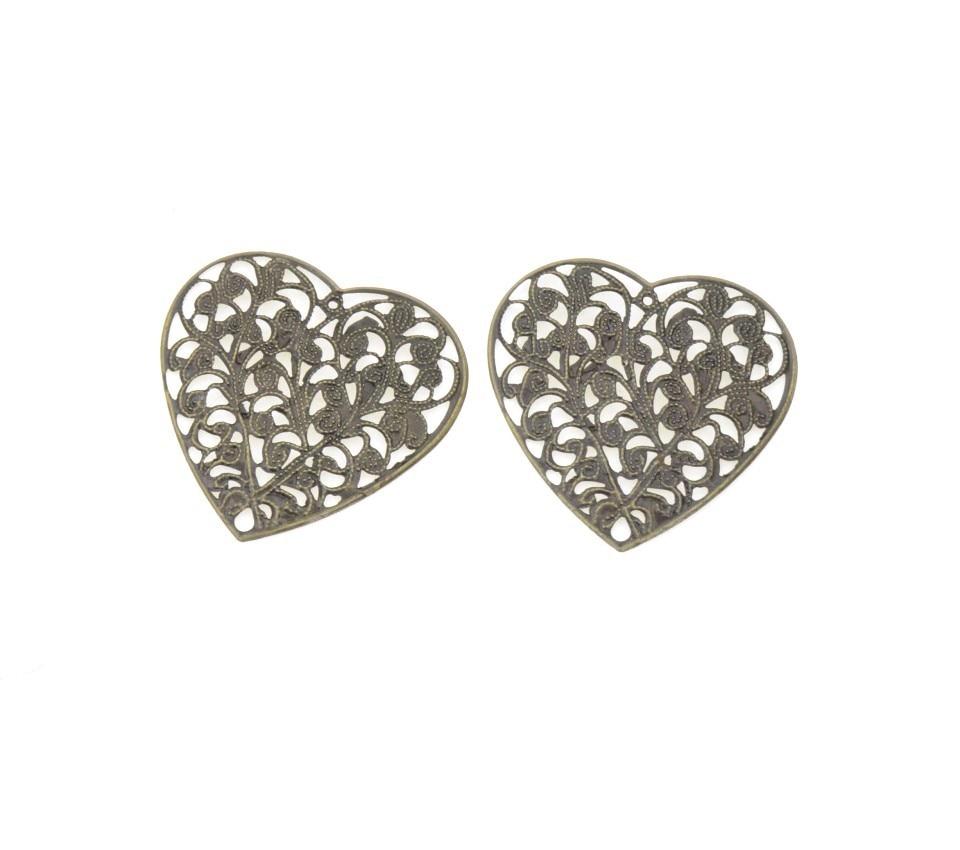 MIAOCHI DIY 20PCs Antique Bronze Filigree Wraps Flower Heart Connectors Metal Crafts Gift Decoration DIY Findings 45*45mm