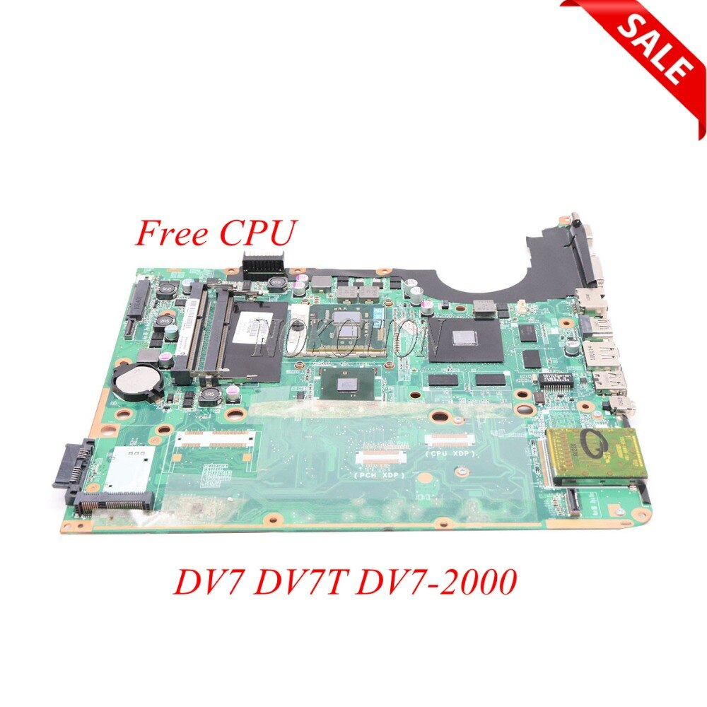 NOKOTION 580974-001 placa base para ordenador portátil HP pavilion DV7 DV7T DV7-2000 DA0UP6MB6F0 REVF Tablero Principal DDR3 cpu gratis