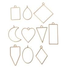 Cadre géométrique creux pour la fabrication de bijoux   Ensemble de 10 pièces de pendentif en résine à fleurs pressées creuses