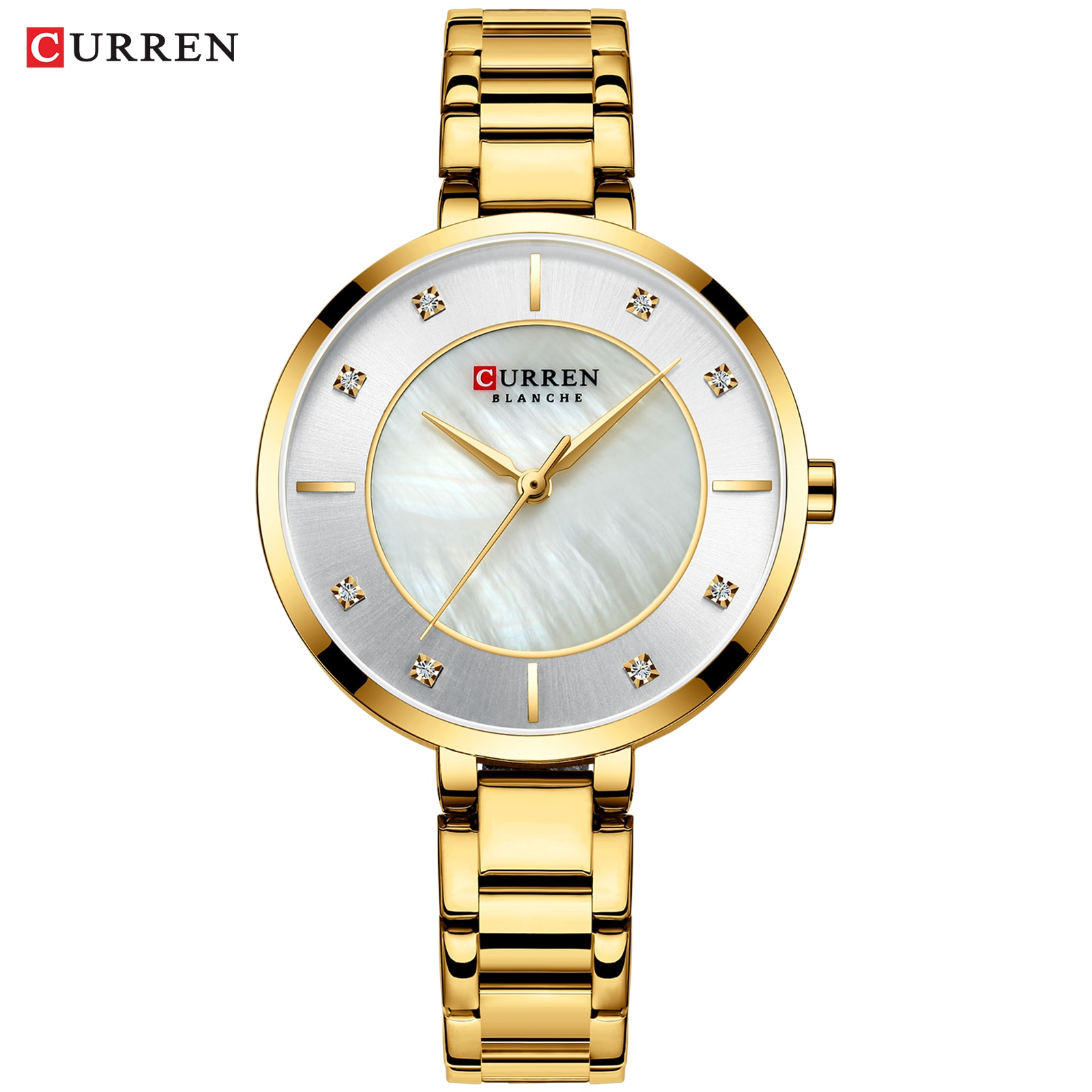 CURREN 2019 Womens Watches Golden Rhinestone Analog Round Quartz Watch Dress Bracelet Chain Waterproof Lady Wristwatch Dropship enlarge