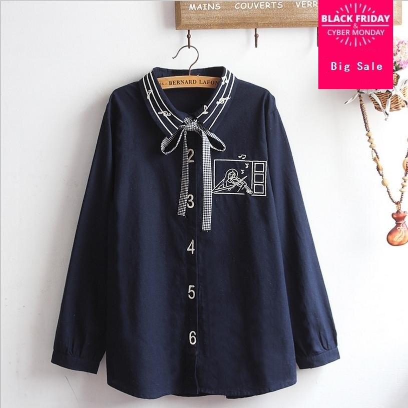 Mori Girl 2018 novedad de verano mujeres carácter bordado blusas tops mujer camisa manga larga estilo universitario camisas de algodón L450