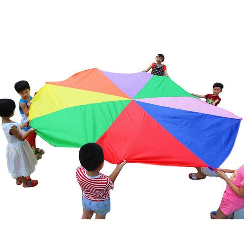 Juguetes De paracaidista deportivo al aire libre para niños, juguete interactivo para acampar al aire libre, paraguas arcoíris, juego de balote para niños, guardería