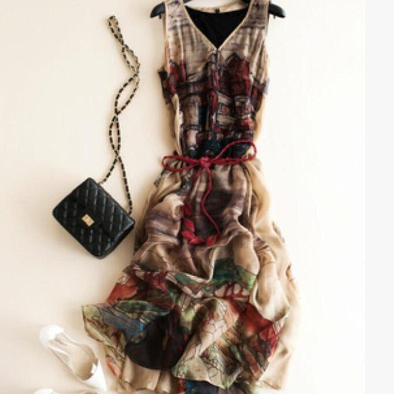 2021 Fashion Silk Dress Women Elegant Summer High Quality Clothing HOT Sell Long Brown Print Party Beach dresses
