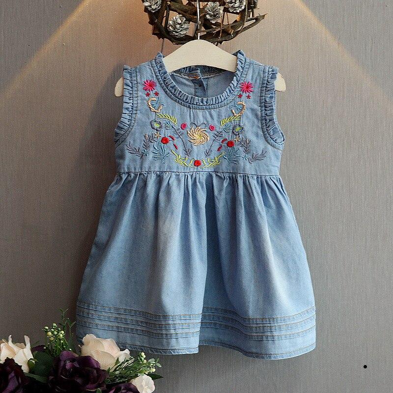 Verão crianças meninas bordado floral sem mangas vestido de verão babados denim jeans princesa festa tutu vestidos