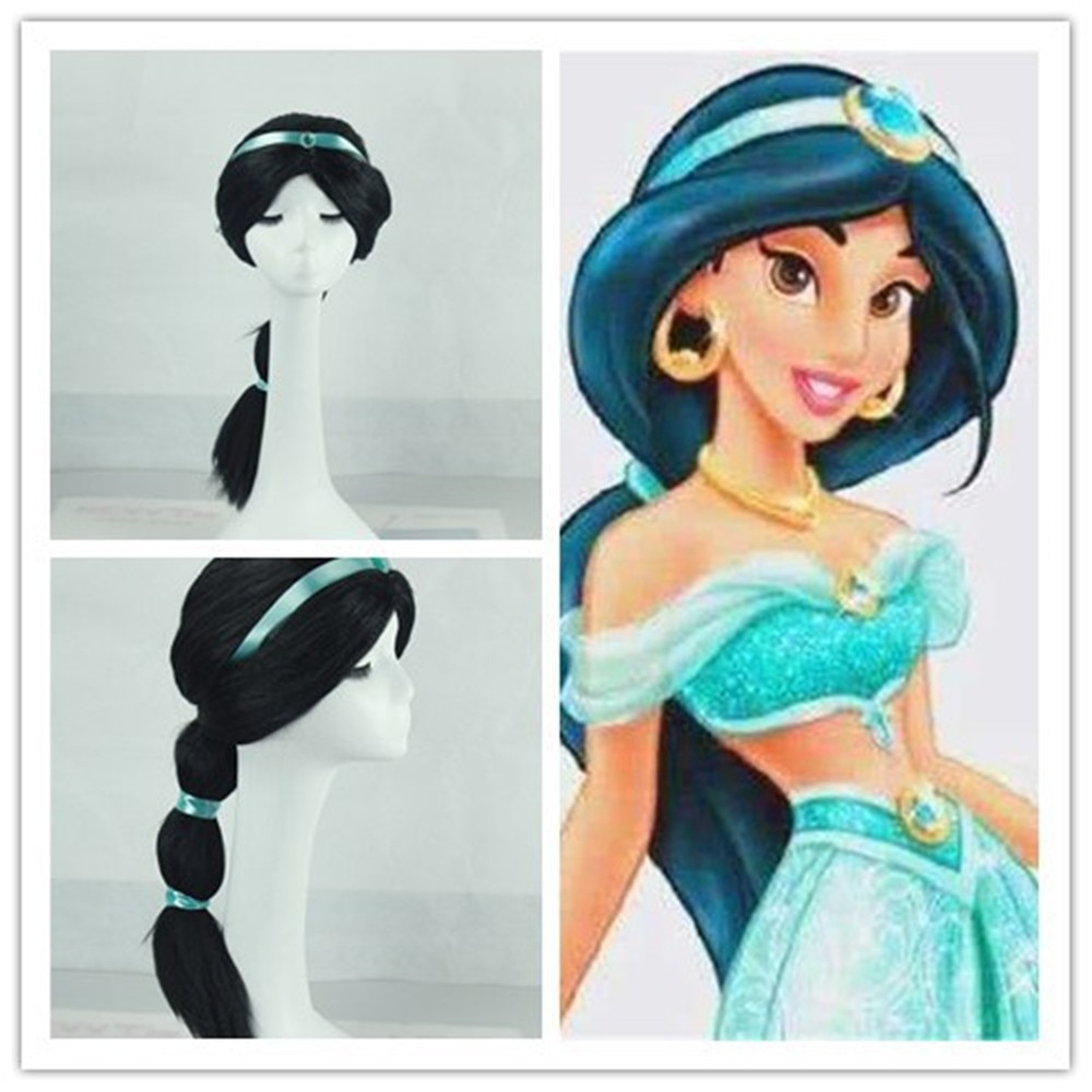 kid girl Cosplay Wigs Jasmine princess Long Black Wig Synthetic Hair Heat Resistant