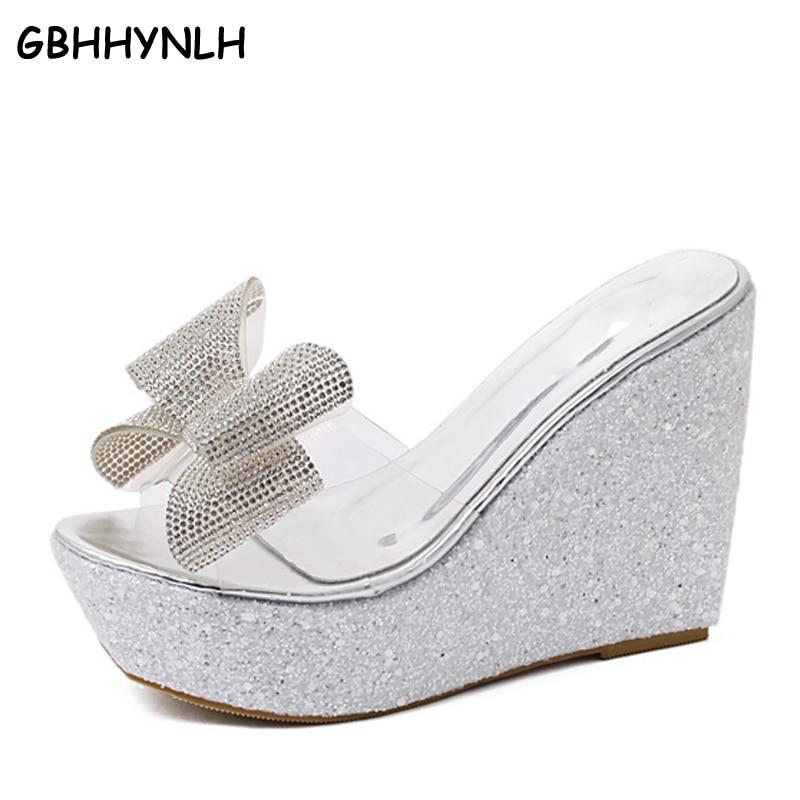 GBHHYNLH-شبشب نسائي للشاطئ ، حذاء شفاف بنعل سميك وأحجار الراين ، LJA337