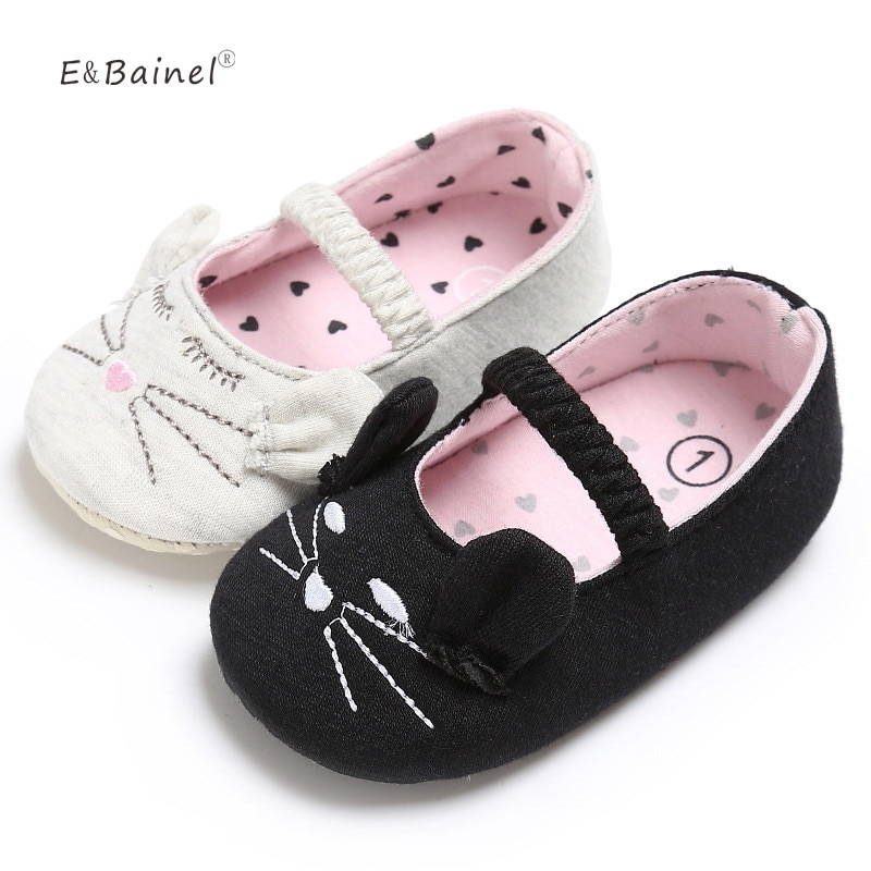 0-18M Cute  Girl Casual Cotton Baby Shoes Infants Baby Little Cat Crib Shoes