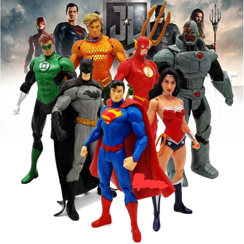 Экшн 7 шт./компл. Лига Справедливости Фигурки игрушки серии DC герои чудо женщина Супермен Аквамен киборг коллекционные игрушки подарки для д...
