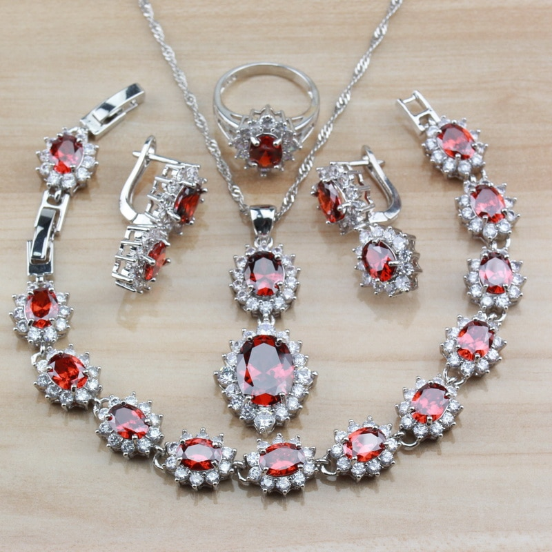 Очаровательный красный родолит серебряный цвет Свадебный костюм для женщин ювелирные наборы Клипсы Серьги/ожерелье/браслет/кольцо наборы