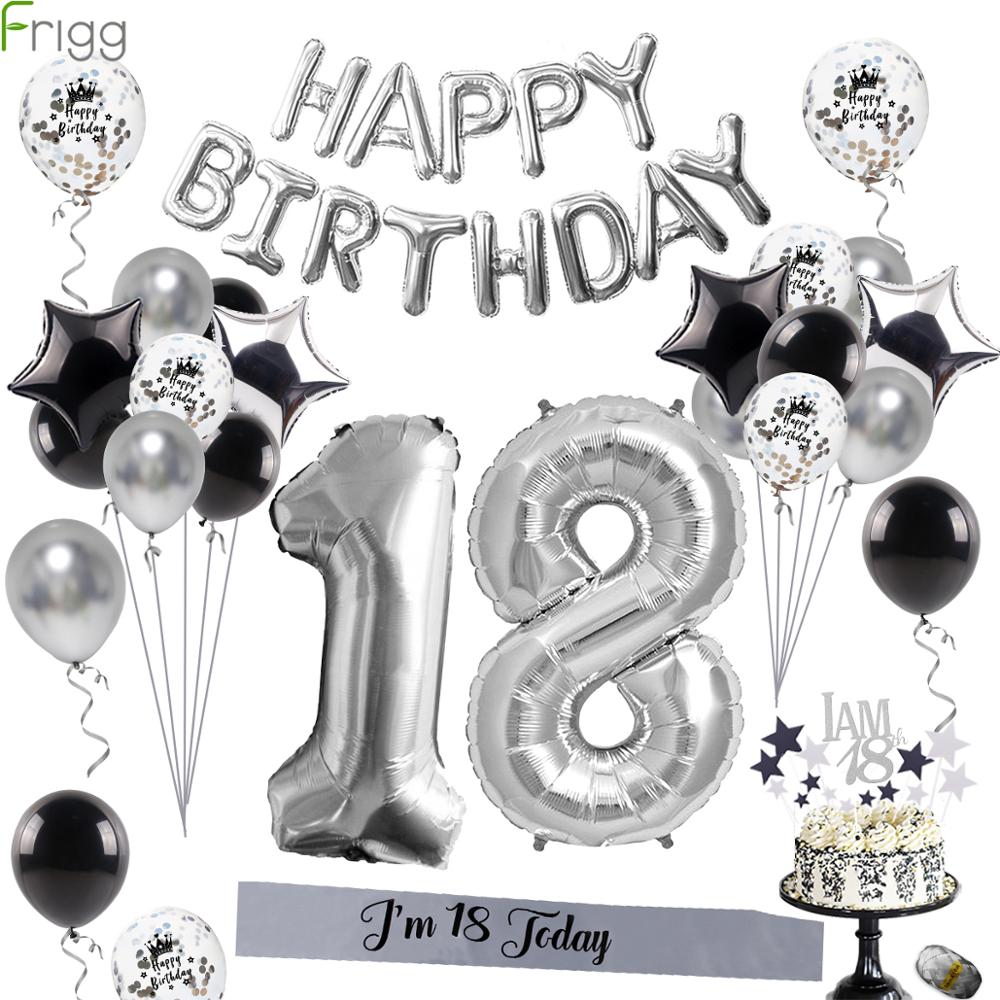 Frigg Silver Metal 18th Birthday Balloons Happy 18 Birthday Party Number Balloon For Adult Birthday Party Decoration 40Pcs