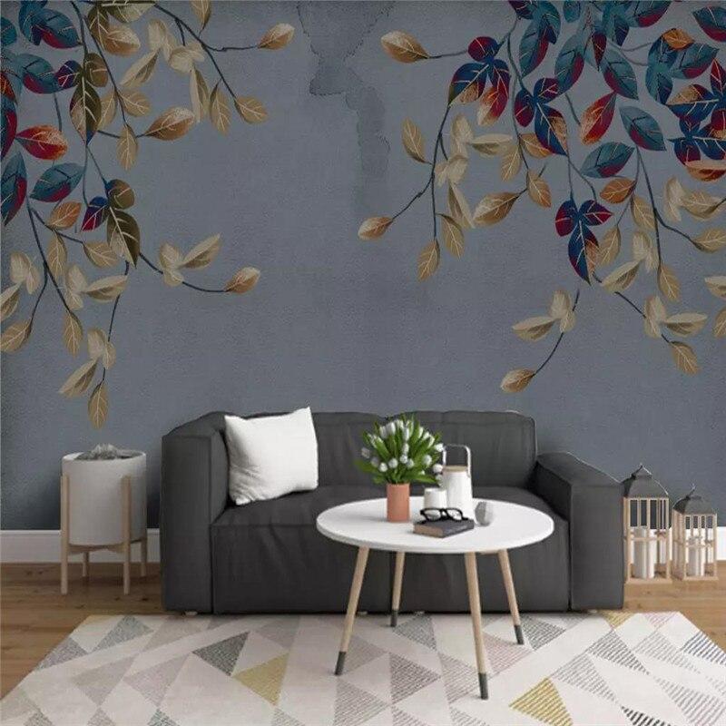 Papel tapiz personalizado pintado a mano hojas abstractas elegante mural moderno material impermeable de alta calidad