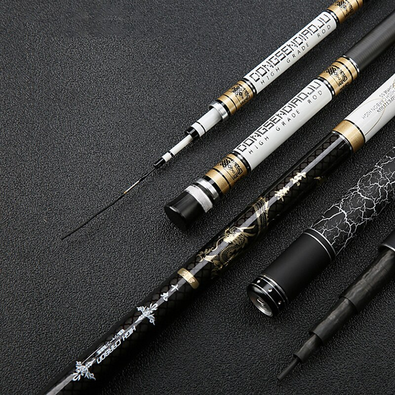 Hight Carbon Fiber 3.6m-8.1m Taiwan Fishing Rod Telescopic Hand Pole Super Hard Rod For Big Carp Fish