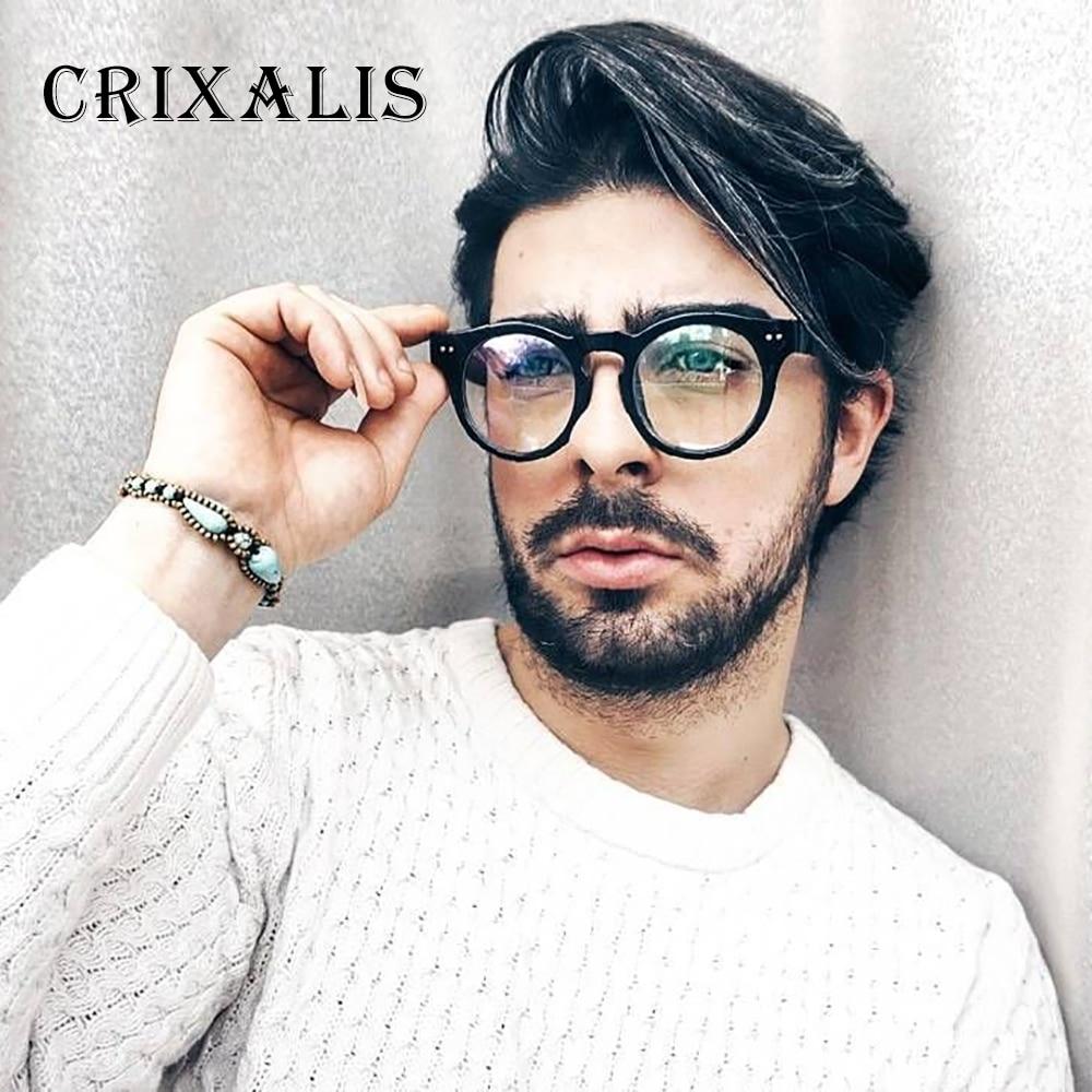 Crixalis 2018 Vintage hombres, gafas negro montura para gafas redonda de las mujeres de la marca de diseñador círculo retro gafas lente claro UV400 PG2681