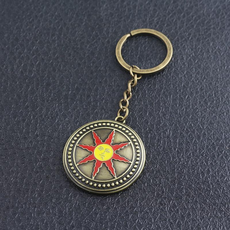 SG New Dark Souls 3 Badge Keychains High Quality Alloy Sun Knight Logo Pendants Keyring For Women Men Car Bag Cosplay Jewelry
