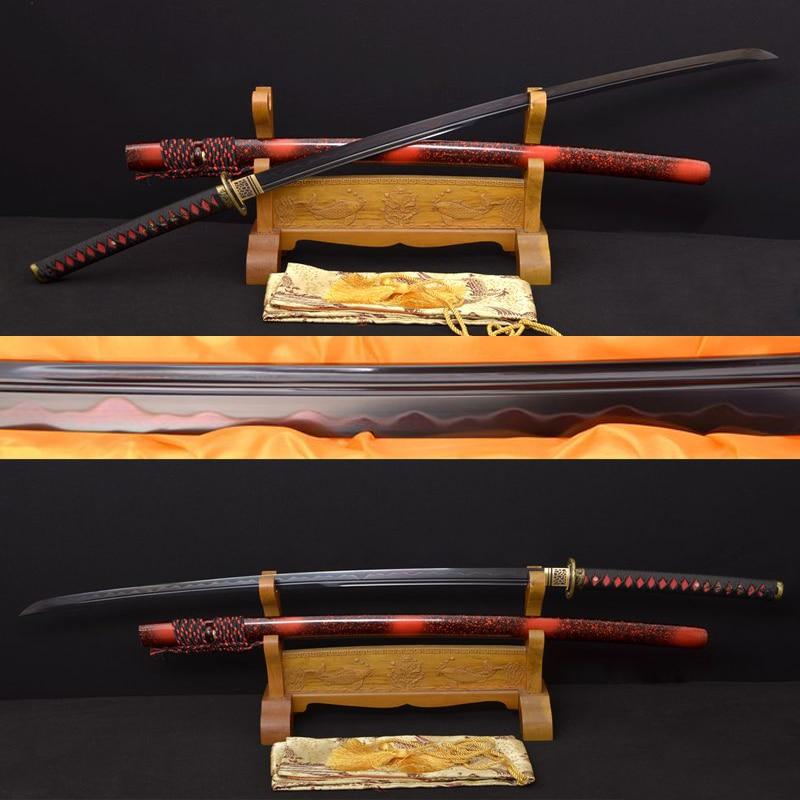 Arcilla forjada a mano Katana templada samurái espada para practicar Tang Damasco de acero plegado espada negra espadas batalla lista