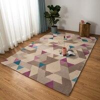 Ins girl cotton baby Living room Carpet geometric plaid purple Denmark Rug bohemia GEOMETRY Modern Mat design kids Nordic style
