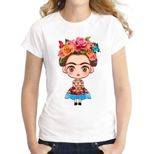 Hot Sale Cartoon Mexican Cartoon Girl T Shirt Short Sleeve Women T-shirt Novelty Tee Floral Girl Printed Casual Shirts