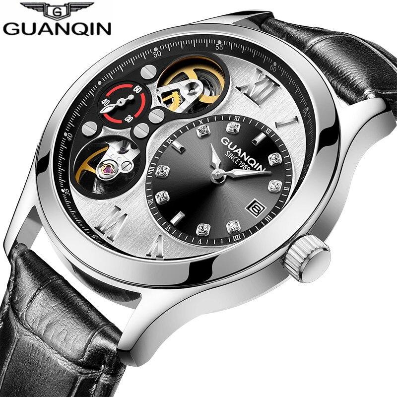 Pequeno segundo Dial Mecânicos à Prova Guanqin Relógios Desportivos Homens Moda Relógio Automático Tourbillon Luminous d' Água 2021