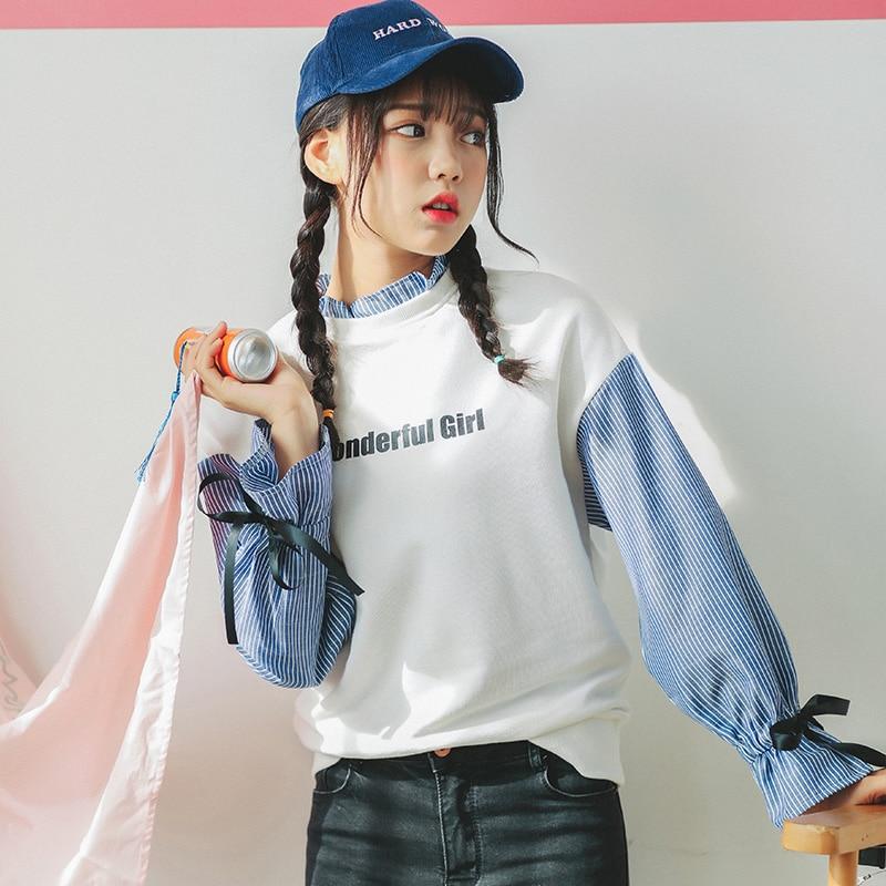 2020 Ladies Casual Sweatshirt Block Color Clothes Women's Sweatshirts Japan Harajuku Female Korean Kawaii Svitshot For Women